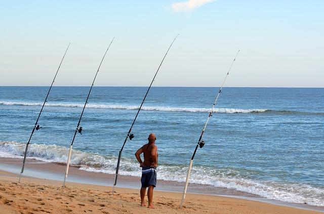 pláž, moře, muž, rybářské pruty