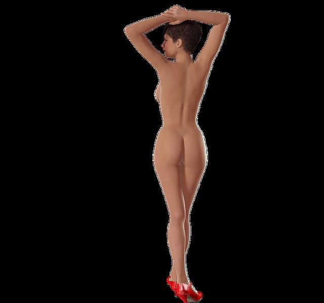 nahá žena v lodičkách